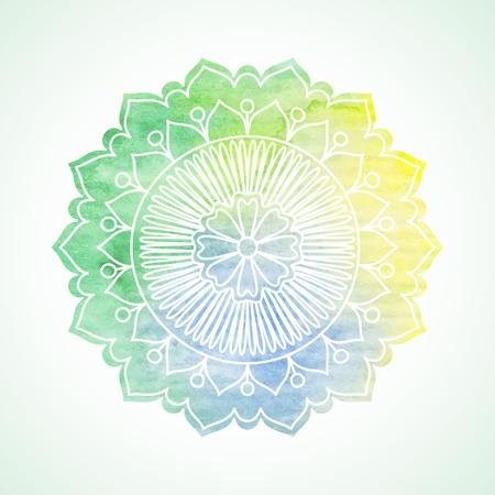 落書きと水彩の花。手描きのグラフィック要素。自由奔放に生きるとエスニック スタイル曼荼羅。誕生日カード、結婚式やベビー シャワーの招待状  イラスト・ベクター素材