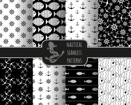 ancla: Conjunto de 8 patrones n�uticas sin fisuras con las anclas, las ruedas de la nave, peces y las olas. Los elementos de dise�o de dibujos, fondos de escritorio, beb� invitaci�n de la ducha, tarjeta de cumplea�os, scrapbooking, impresi�n de la tela.