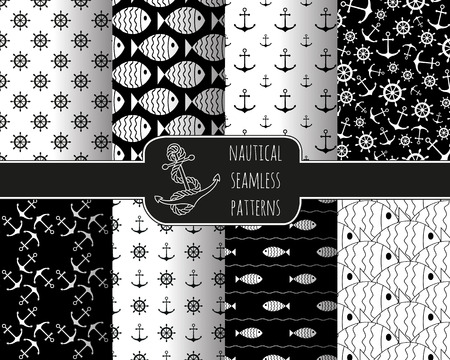 nautical: Set of 8 seamless nautical patterns with anchors, ship wheels, fish and waves. Design elements for printables, wallpaper, baby shower invitation, birthday card, scrapbooking, fabric print.
