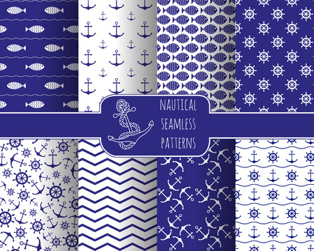 printables: Set of 8 seamless nautical patterns with anchors, ship wheels, fish, chevron and waves. Design elements for printables, wallpaper, baby shower invitation, birthday card, scrapbooking, fabric print.