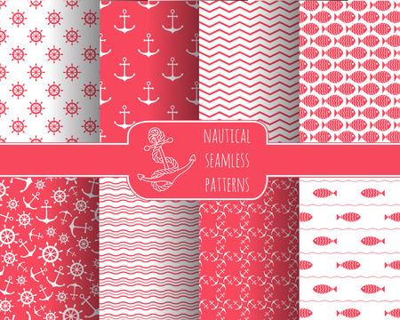 앵커, 배 바퀴, 물고기, 갈매기와 파도 8 원활한 해상 패턴의 집합입니다. printables, 벽지, 베이비 샤워 초대장, 생일 카드, 스크랩북, 직물 인쇄를위한 디