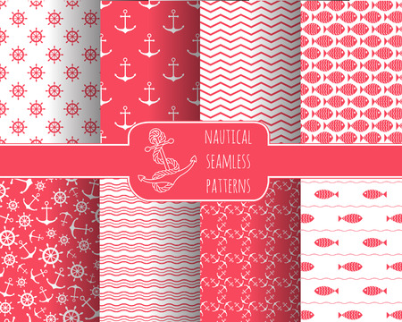 nautical: Set of 8 seamless nautical patterns with anchors, ship wheels, fish, chevron and waves. Design elements for printables, wallpaper, baby shower invitation, birthday card, scrapbooking, fabric print.