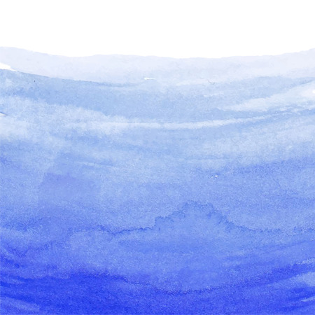 Hand painted watercolor sea. Nautical blue abstract ombre background. Design element for vacation flyer, birthday or business card, wedding or baby shower invitation, scrapbooking. Vector illustration Ilustração
