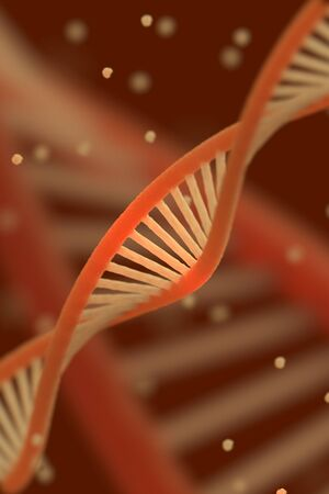 DNA chain macroshot. Highly detailed 3D render. Red key. Shallow DOF. photo
