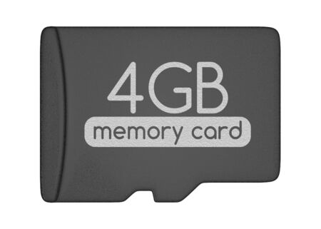 gb: MicroSD memory card. 4 GB. Top view. Isolated on white.