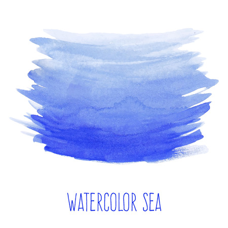 Hand painted watercolor sea. Nautical blue abstract background. Design element for vacation flyer, birthday or business card, wedding or baby shower invitation, scrapbooking. Vector illustration