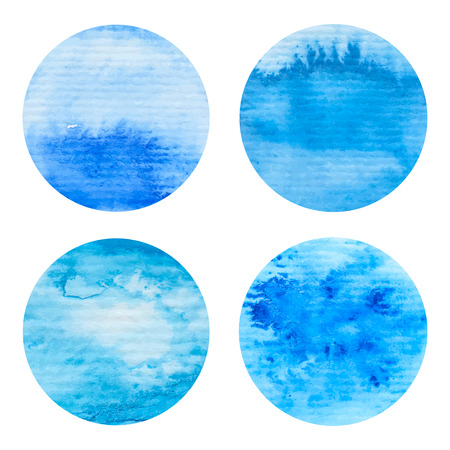 high sea: Hand painted watercolor circles set. Nautical sea texture, blue colors. High resolution graphic design elements for business cards, wedding and baby shower invitation, birthday cards and web sites.