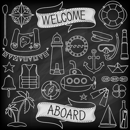Doodle hand getekende nautische decor set. Krijtbord effect. Grafisch ontwerp elementen voor baby douche of huwelijksuitnodiging, verjaardagskaart, zeezeilen vakantie flyers, scrapbooking. Vector illustratie.