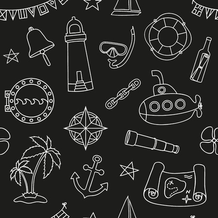 Seamless nautical pattern. Chalk board effect. Graphic design elements for printables, wrapping paper, web pages background, coloring pages, scrapbooking. Vector illustration.