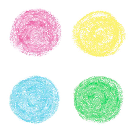pastel drawing: Beautiful oil pastel round design elements. Vector illustration.
