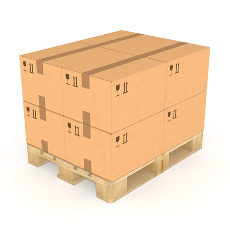 storage facility: Stack of brown cardboard boxes on a wooden pallet. Isolated on white background. Distribution facility and warehouse. Retail, logistics, delivery, storage and shipping concept.