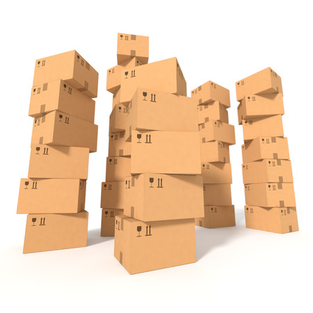 cardboard: Stacks of cardboard boxes isolated on white background. Retail, logistics, delivery and storage concept. Side view with perspective. Stock Photo