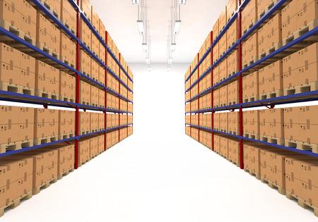 uvnitř: Skladové regály plné velkých krabic. Retail, logistika, dodávky a skladování koncept. Generické hnědé kontejnery na stojanech lemované ve dvou řadách. Průchod ve velkém skladiště. Distribuce zařízení.