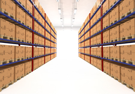 Warehouse shelves filled with large boxes. Retail, logistics, delivery and storage concept. Generic brown containers on racks lined in  two rows. Passage in a big storage house. Distribution facility.