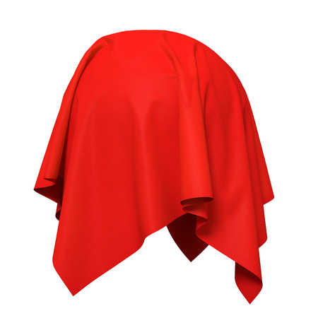 curtain: Sphere covered with red silk fabric. Isolated on white background. Surprise, award, prize, presentation concept. Reveal the hidden object. Raise the curtain. Photorealistic illustration. Stock Photo