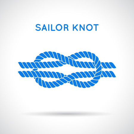 on the ropes: Sailor knot. Nautical rope infinity sign. Single flat icon with shadow. Tying the knot. Graphic design element for wedding invitations, baby shower, birthday card, scrapbooking, icon etc.