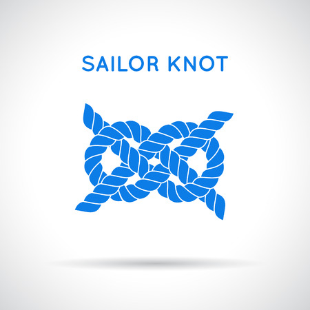 natural rope: Sailor knot. Nautical rope infinity sign. Single flat icon with shadow. Tying the knot. Graphic design element for wedding invitations, baby shower, birthday card, scrapbooking, icon etc.