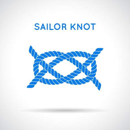 nautical equipment: Sailor knot. Nautical rope infinity sign. Single flat icon with shadow. Tying the knot. Graphic design element for wedding invitations, baby shower, birthday card, scrapbooking, logo etc.