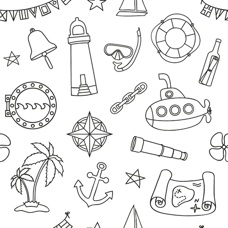 Seamless nautical pattern. Graphic design elements for printables, wrapping paper, web pages background, coloring pages, scrapbooking. Vector illustration.
