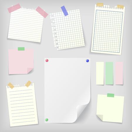 nota de papel: notas adhesivas conjunto de notas adhesivas realistas, alineados y cuadrados documentos portátiles y hoja en blanco maqueta con alfileres y pegatinas. Lugar para el texto. Vectores
