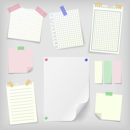 memo board: sticky notes set of realistic sticky notes, lined and squared notebook papers and blank sheet mock-up with pins and stickers. Place for text.