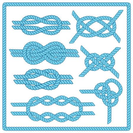 marinero: Establece nudo marinero. Náutico signo infinito cuerda. Elemento de la esquina. Frontera del marco de la cuerda. Atar el nudo. Elemento de diseño gráfico para las invitaciones de boda, baby shower, tarjeta de cumpleaños, el scrapbooking, Vectores