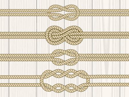Diviseurs Sailor n?uds établis. Nautique signe corde de l'infini. Corde frontière. Attacher le noeud. Élément graphique de conception pour des invitations de mariage, baby shower, carte d'anniversaire, scrapbooking, logo, etc Logo
