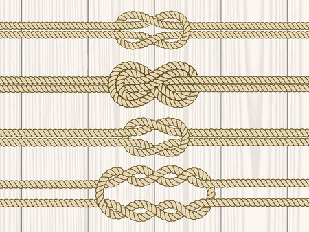 Sailor knot dividers set. Nautical rope infinity sign. Rope border. Tying the knot. Graphic design element for wedding invitations, baby shower, birthday card, scrapbooking, logo etc Фото со стока - 40907001