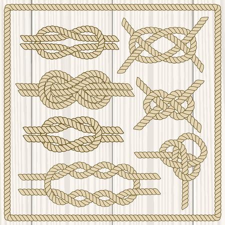 nudos: Establece nudo marinero. N�utico signo infinito cuerda. Elemento de la esquina. Frontera del marco de la cuerda. Atar el nudo. Elemento de dise�o gr�fico para las invitaciones de boda, baby shower, tarjeta de cumplea�os, scrapbooking, logotipo, etc.