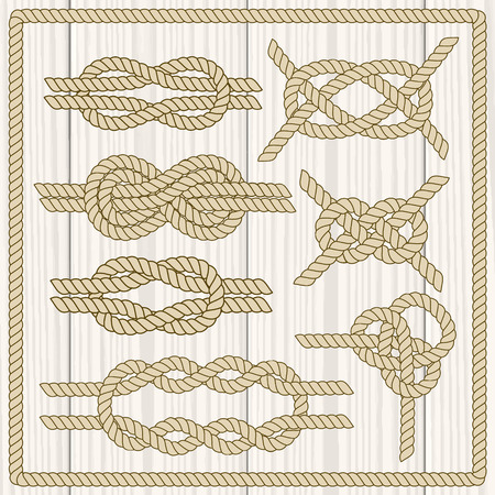 nautical equipment: Sailor knot set. Nautical rope infinity sign. Corner element. Rope frame border. Tying the knot. Graphic design element for wedding invitations, baby shower, birthday card, scrapbooking, logo etc.