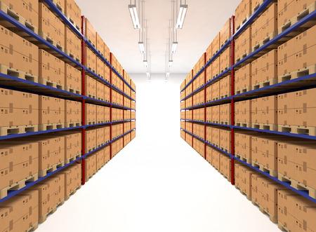 estanterias: Estantes de almacenes llenos de cajas grandes. Al por menor, la logística, la entrega y el concepto de almacenamiento. Contenedores marrones genéricas sobre bastidores alineados en dos filas. Paso en un almacén grande. Instalación de distribución.