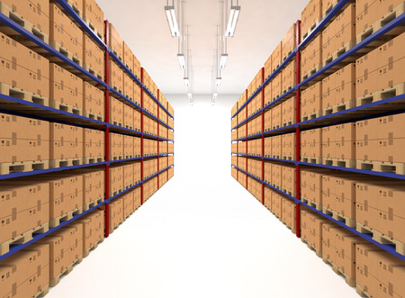 TAgères de l'entrepôt rempli de grandes boîtes. Vente au détail, la logistique, la livraison et le concept de stockage. Conteneurs génériques brunes sur des étagères alignées en deux rangées. Passage dans une grande maison de stockage. installation de distribution. Banque d'images - 40911869