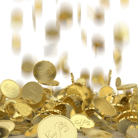 Falling golden coins with a dollar sign. Money rain. Pile of coins. Financial success, cash flow, business on the rise concept.