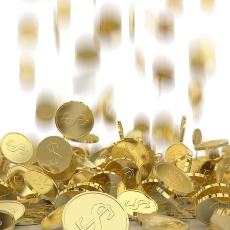 flujo de dinero: La ca�da de las monedas de oro con un signo de d�lar. Lluvia del dinero. Pila de monedas. El �xito financiero, flujo de caja, los negocios en el concepto de aumento.