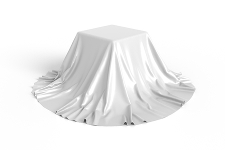 decorative object: Box covered with white fabric. Isolated on white background. Surprise, award, prize, presentation concept. Showroom stand. Reveal a hidden object. Raise the curtain. Photo realistic illustration.