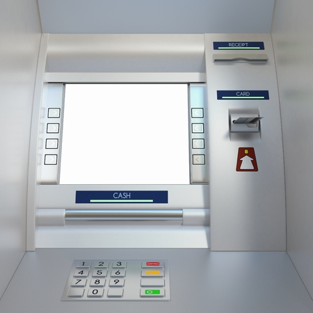 bank withdrawal: Atm machine with a card in card reader. Display screen, buttons, cash dispenser and receipt printer. Pin code safety, automatic banking, electronic cash withdrawal, bank account access concept. Stock Photo