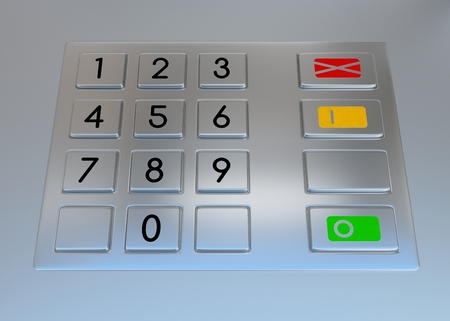 bank account: Atm machine keypad. Numbers buttons with additional red, yellow and green. Pin code safety, banking, electronic cash withdrawal, bank account access concept.