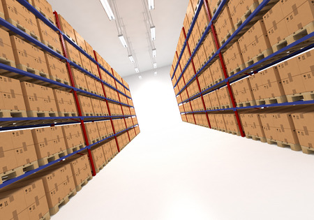 storage facility: Warehouse shelves filled with large boxes. Retail, logistics, delivery and storage concept. Generic brown containers on racks lined in  two rows. Passage in a big storage house. Distribution facility.