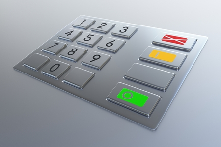 automated teller: Atm machine keypad. Numbers buttons with additional red, yellow and green. Pin code safety, banking, electronic cash withdrawal, bank account access concept.