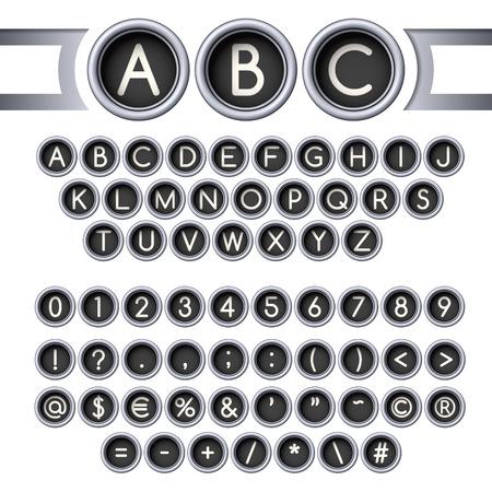 Vintage typewriter round buttons alphabet, silver colors. Vettoriali