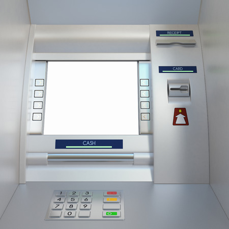 cash dispenser: Atm machine with display screen, buttons, card reader, cash dispenser and receipt printer. Pin code safety, automatic banking, electronic cash withdrawal, bank account access concept. Stock Photo