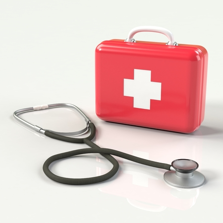 medic: First aid kit with stethoscope. Red doctors bag with white cross with reflection. Emergency, healthcare, paramedic assistance concept.