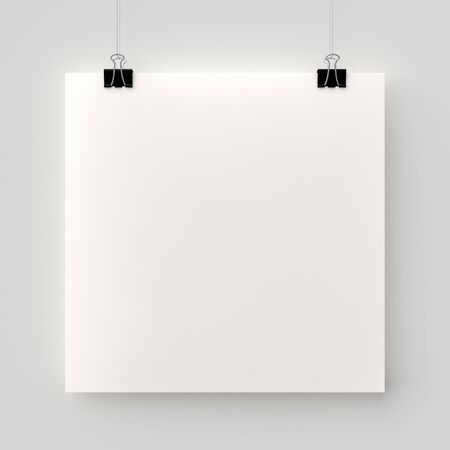 Poster hanging on a thread with two black clips. Blank square sheet of paper against a concrete wall mock up. Urban minimalistic style portfolio presentation concept.
