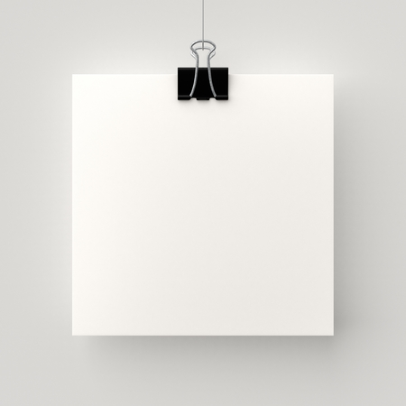 Poster hanging on a thread with a black clip. Blank square sheet of paper against a concrete wall mock up. Urban minimalistic style portfolio presentation concept. Imagens