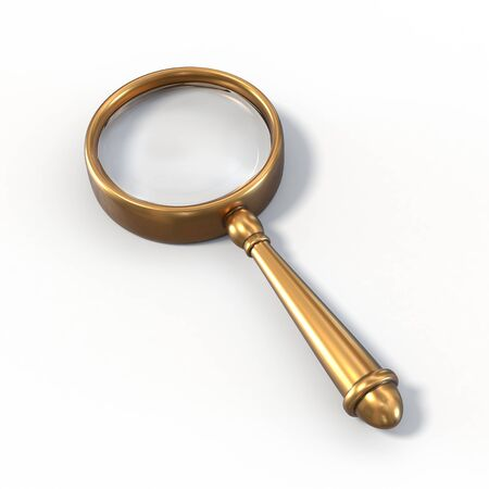 look: Photo realistic vintage magnifying glass. Brass material, vintage look.