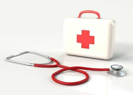 paramedic: First aid kit with stethoscope. White doctors bag with a cross with reflection. Emergency, healthcare, paramedic assistance concept. Stock Photo