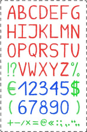 symbol  punctuation: Oil pastel crayon alphabet. Hand painted font. Colorful red bold caps letters, blue numbers and green punctuation marks, euro, dollar symbol. Isolated on white. Cute decorative typographic elements.