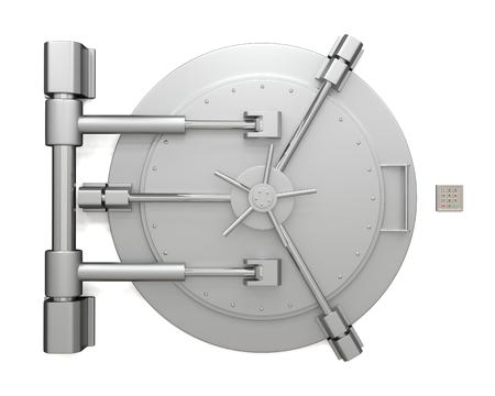 白い背景に分離された銀行の金庫室の扉 写真素材