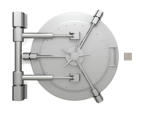 Bank vault door isolated on white background