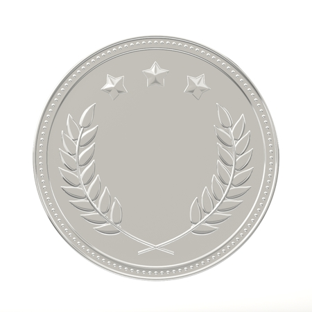 best employee: Silver medal with laurels and stars. Round blank coin with ornaments. Victory, best product, service or employee, second place concept. Achievement in sports. Isolated on white background. Stock Photo